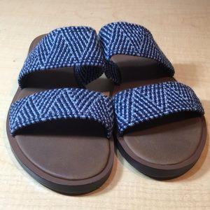 Sanuk navy woven 2 strap flat sandal slides 8